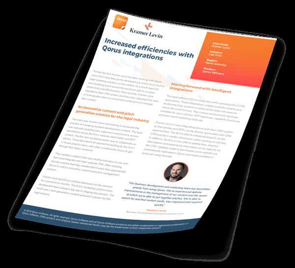 Increase efficiencies with Qorus - Kramer Levin