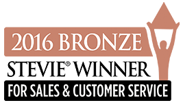 2016 Stevie winner for sales and customer service - bronze